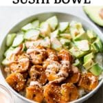 bowl with marinaded shrimp, cucumber and avocado