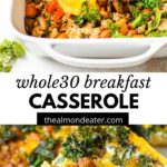 breakfast casserole with text