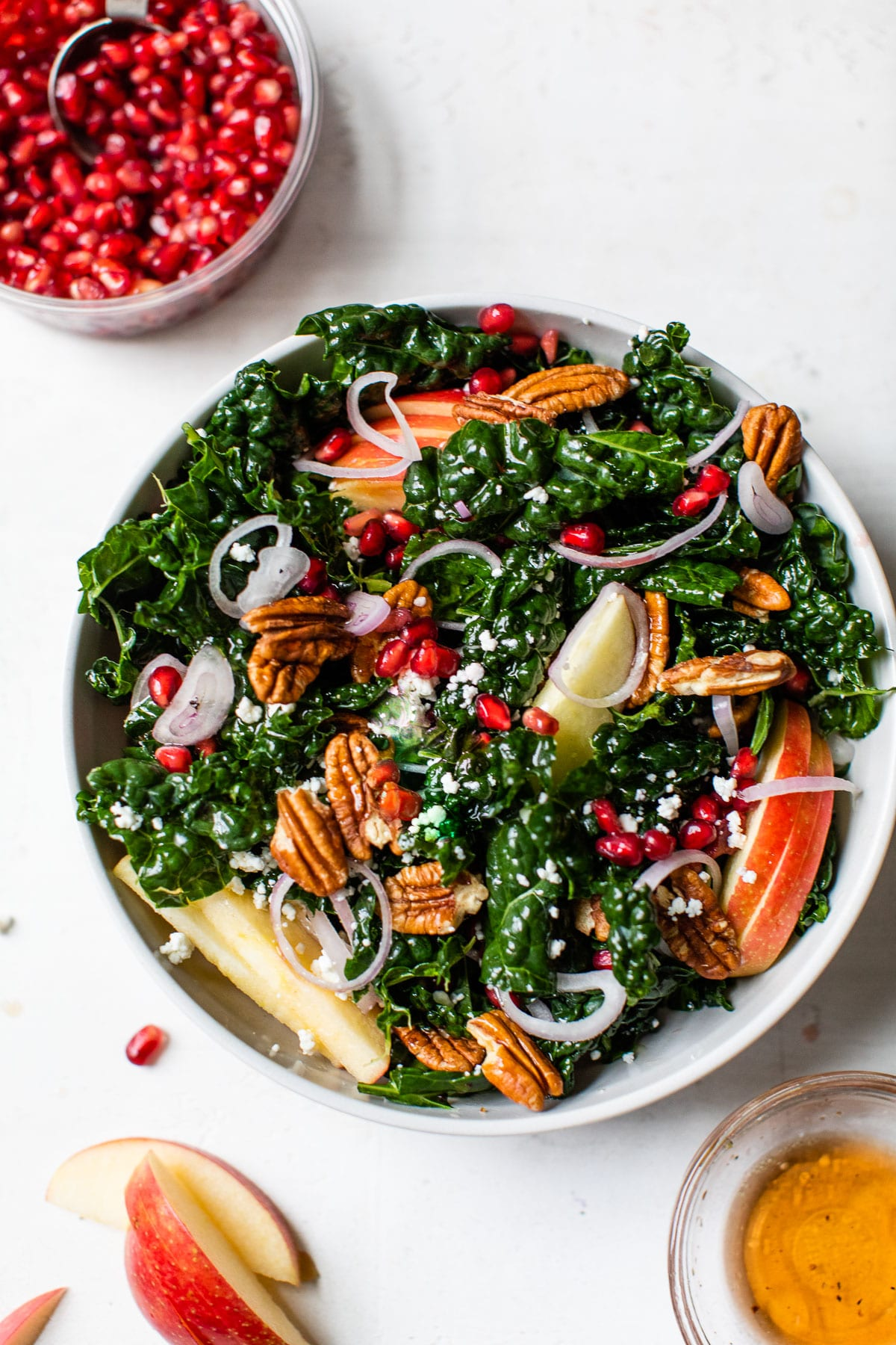 kale salad with apple, shallot and pomegranate seeds