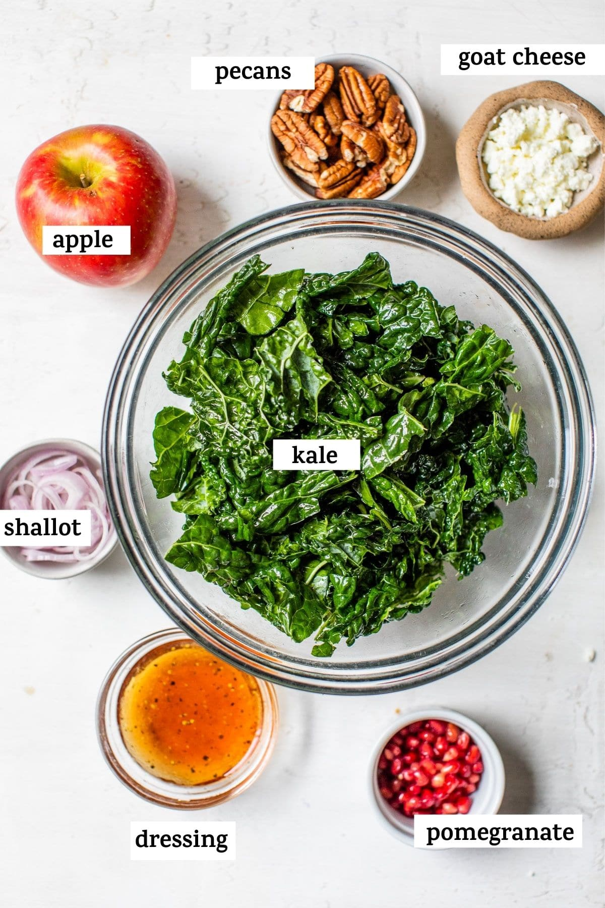 kale in a bowl with text over top