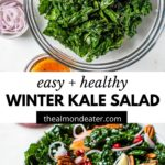 kale salad in a bowl with text over top