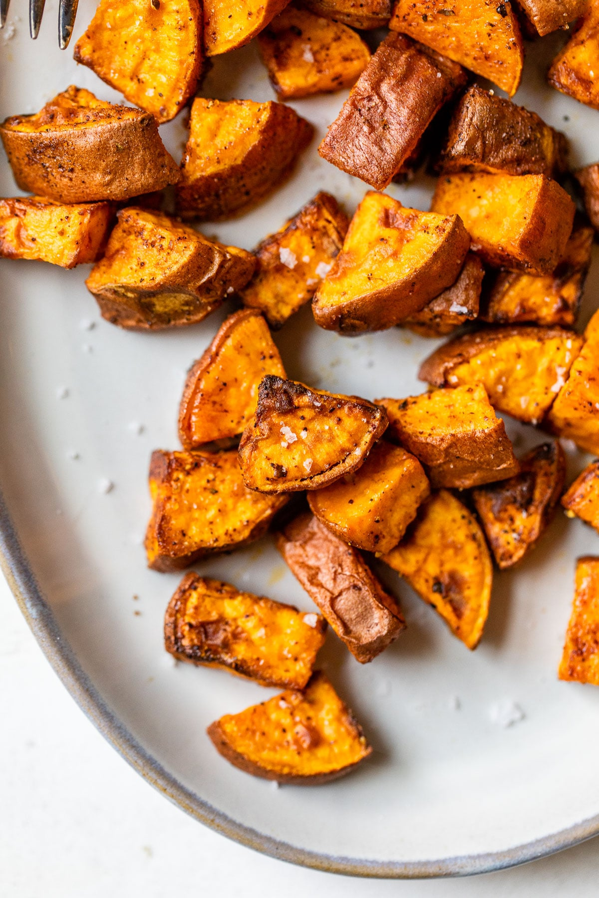 close up of diced sweet potatoes