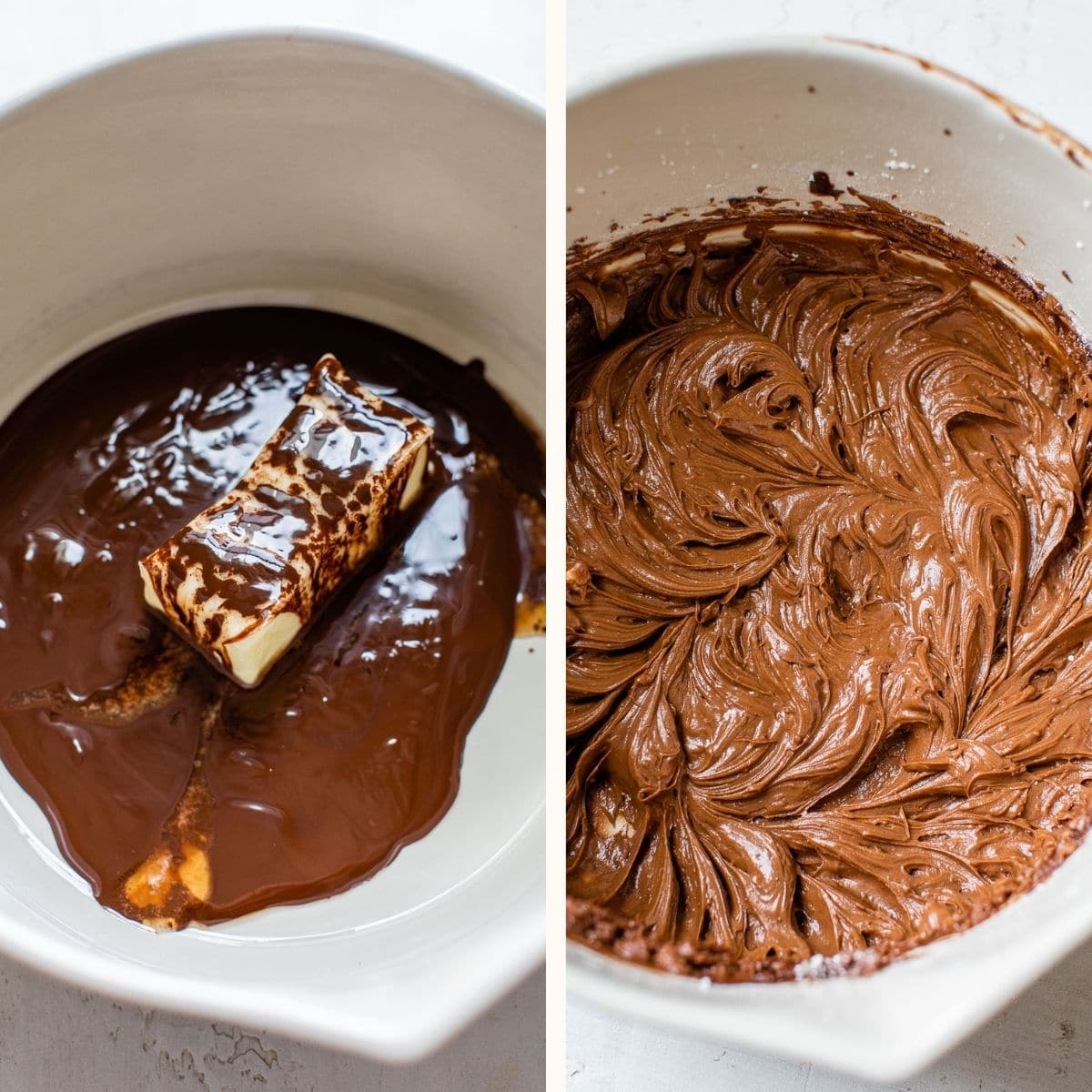 chocolate frosting in a mixing bowl