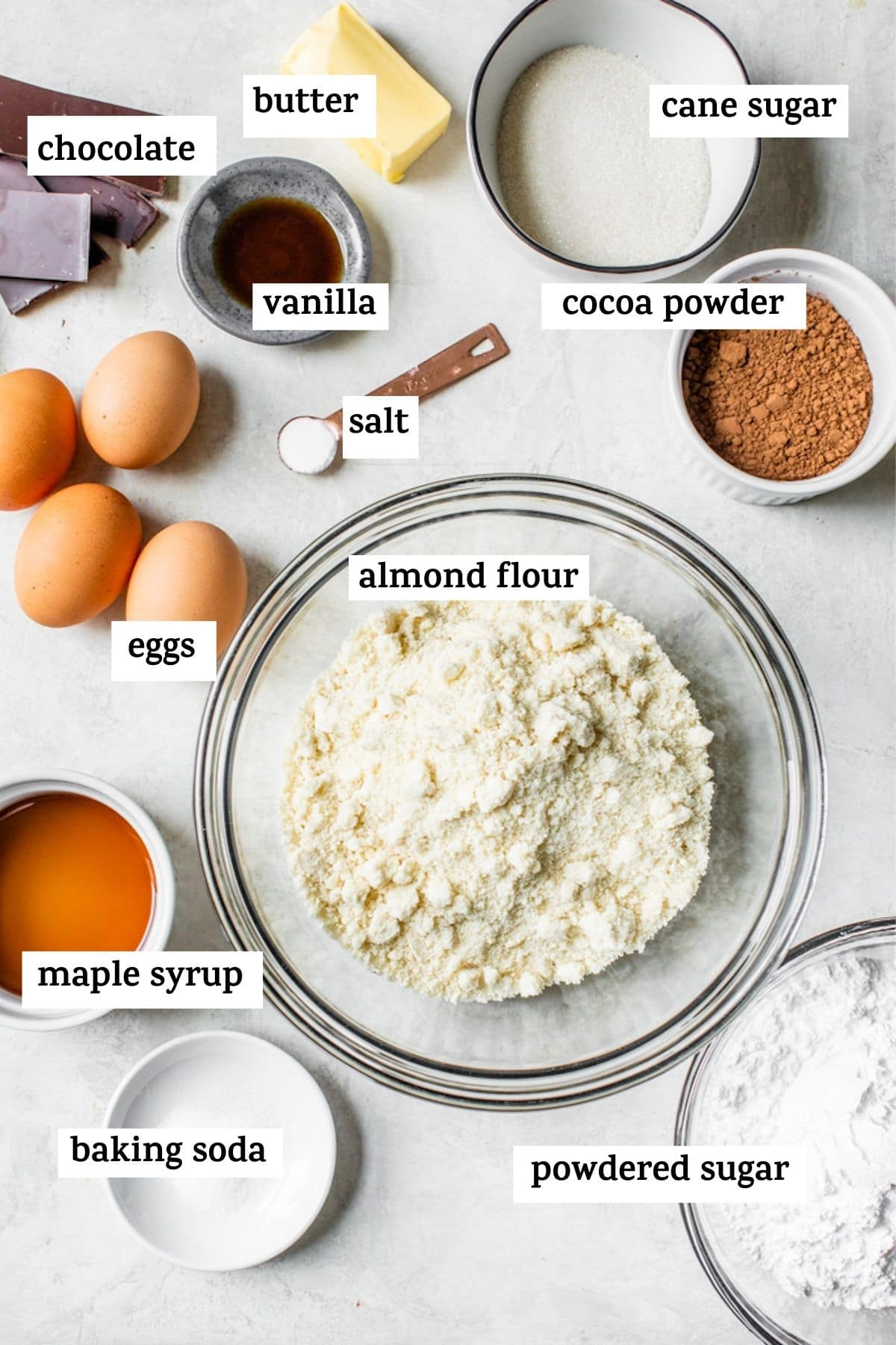 cake ingredients with text over them