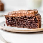 a slice of chocolate cake on a small plate