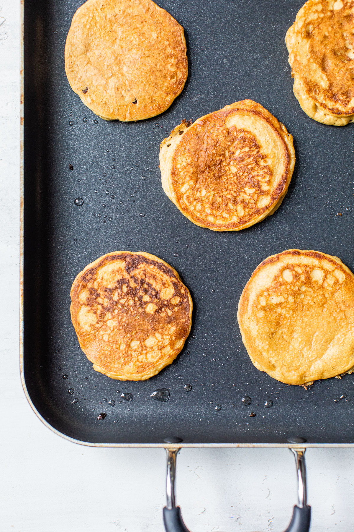 pancakes on a griddle