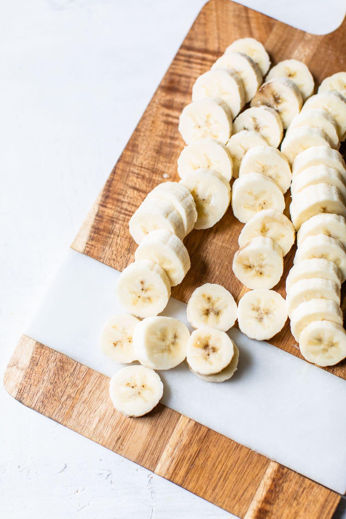sliced banana on a cutting board