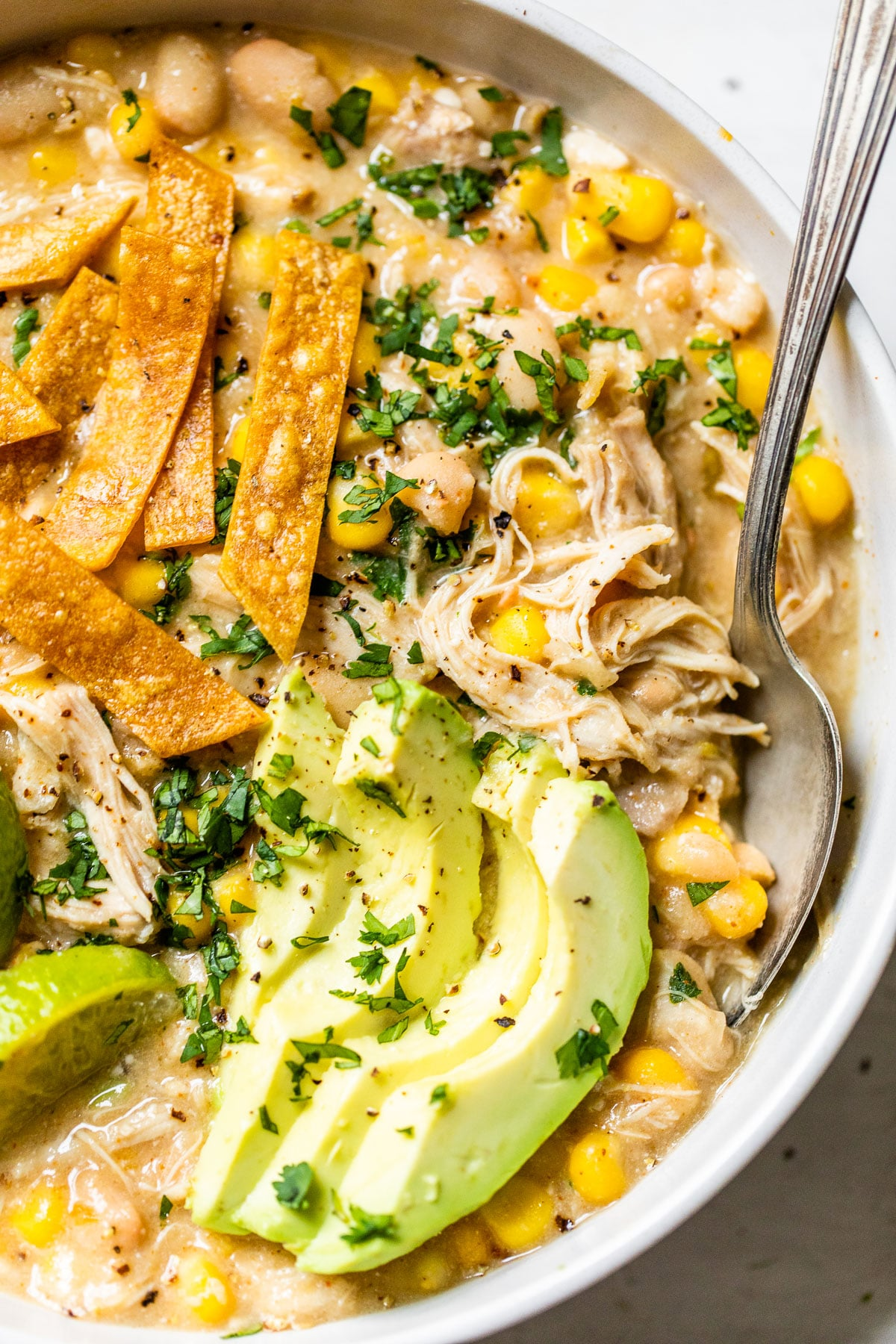 close up of a bowl of soup with shredded chicken, avocado slices and tortilla strips