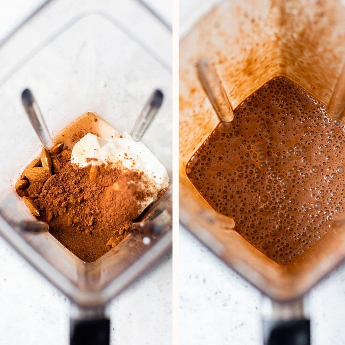 chocolate smoothie in a blender