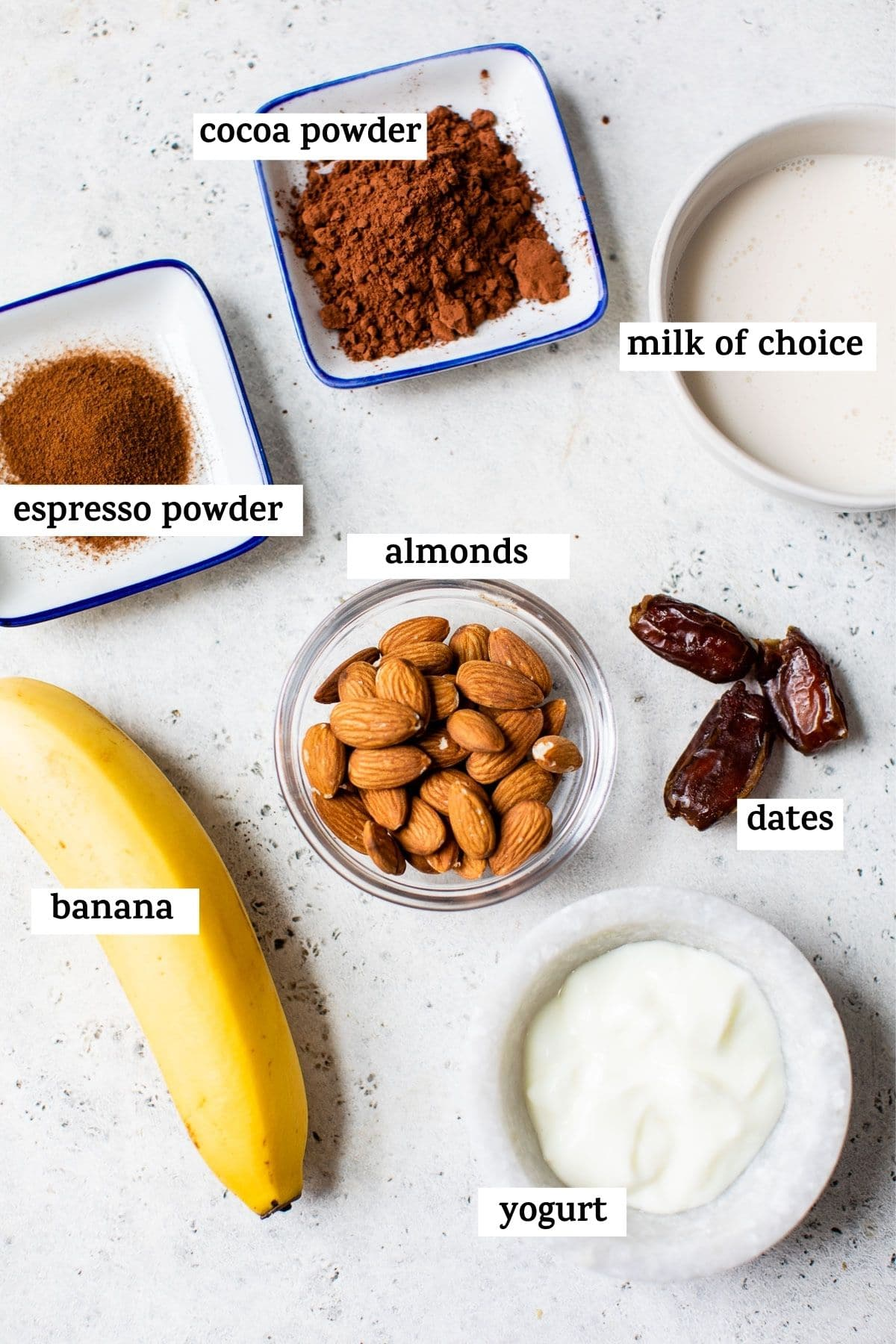 smoothie ingredients on a table with text