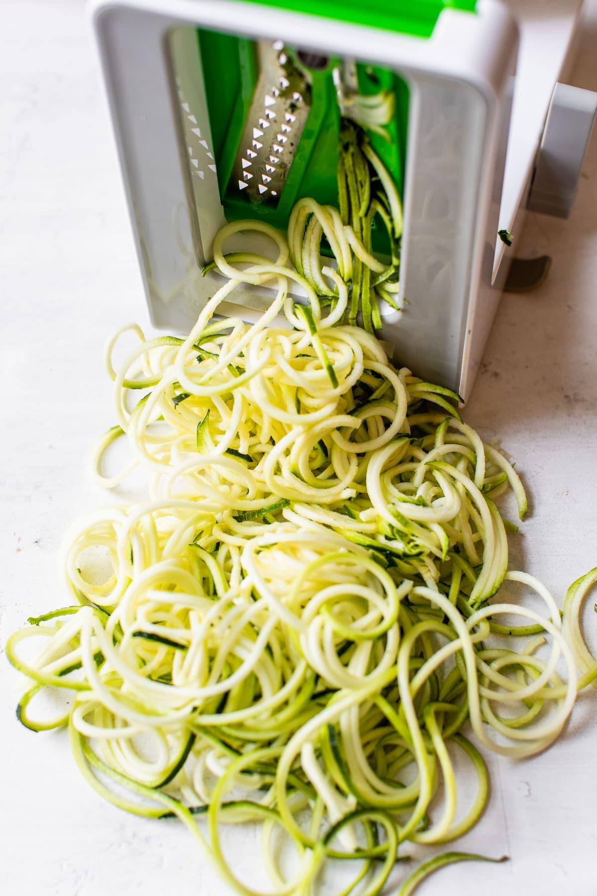 zucchini noodles in a spiralizer