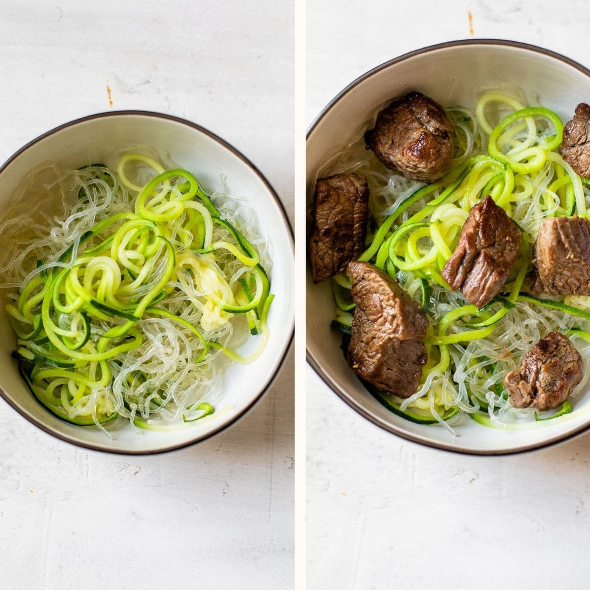 zucchini noodles in a bowl topped with cooked beef
