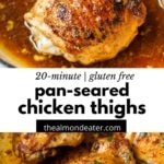 cook chicken in a skillet with text overlay