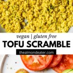 tofu scramble in a skillet and on a plate