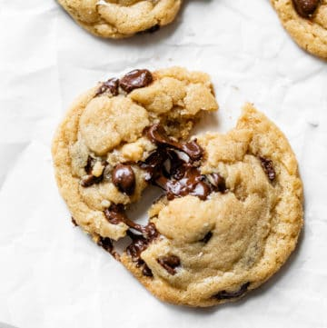 chocolate chip cookie on parchment paper