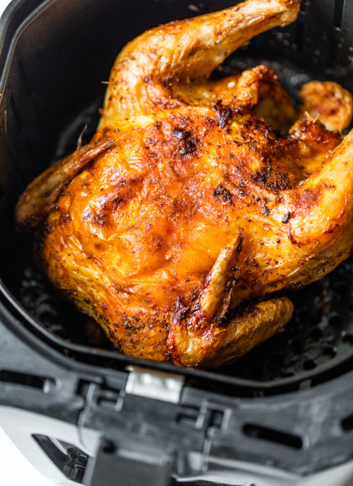 crispy whole chicken in an air fryer
