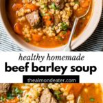 soup with cubes of beef and barley in a bowl