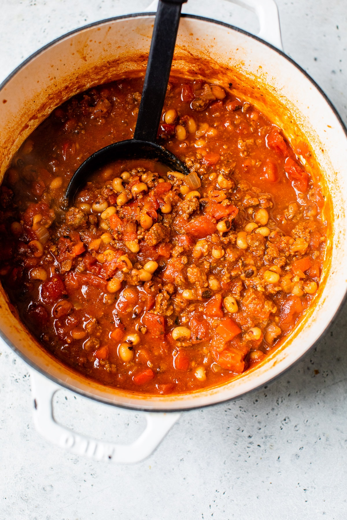 cooked chili in a large dutch oven