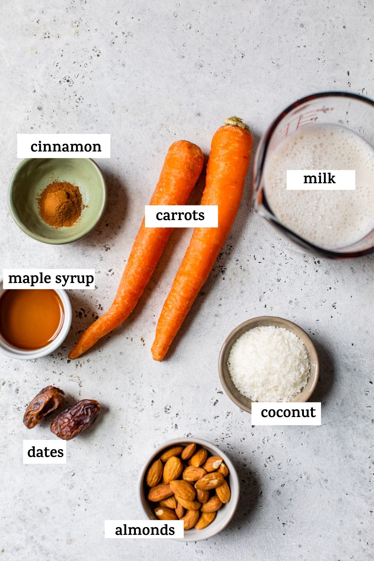 smoothie ingredients on a table with text over top