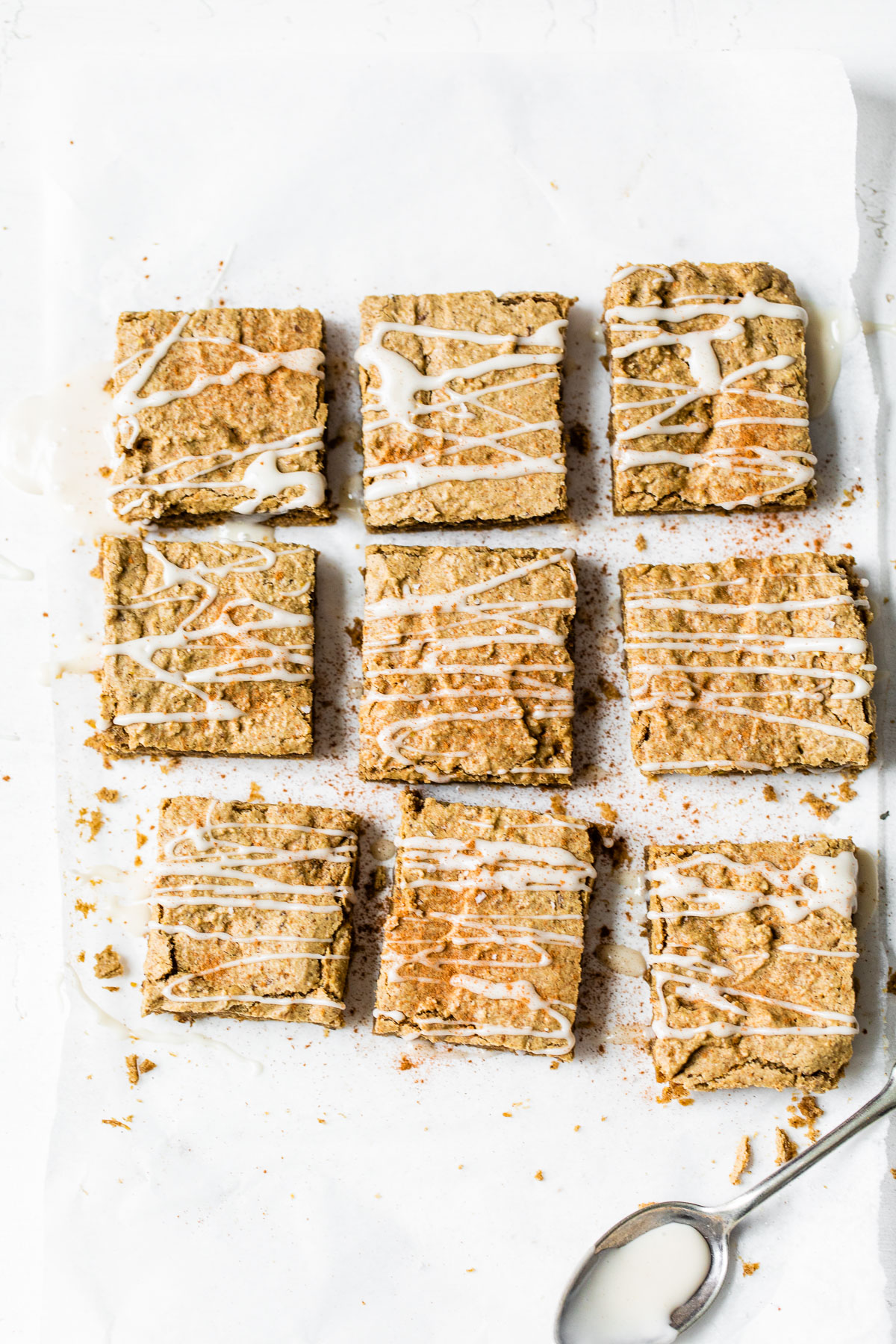 cut protein bars on parchment paper