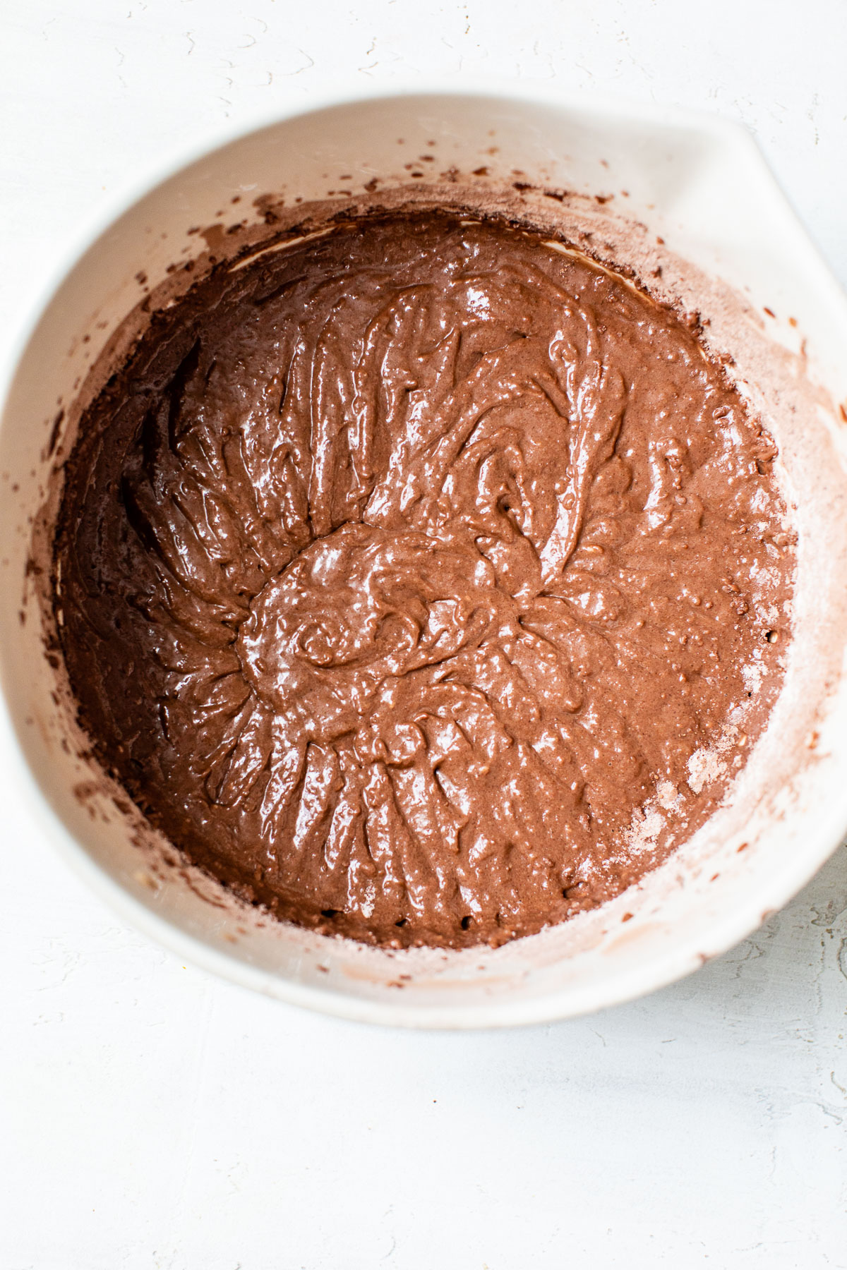 chocolate cake batter in a bowl