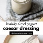 salad dressing in a glass jar and in a large mixing bowl with text overlay