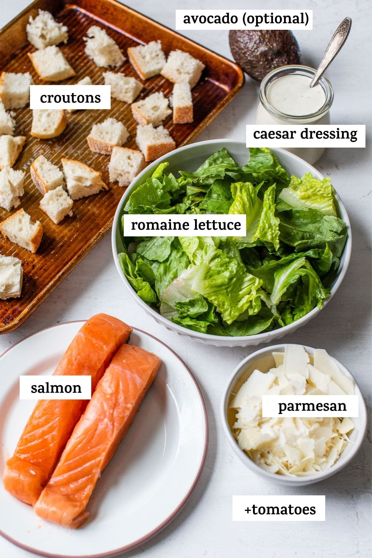 ingredients to make a salad with text overlay