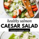 salad topped with salmon and text overlay