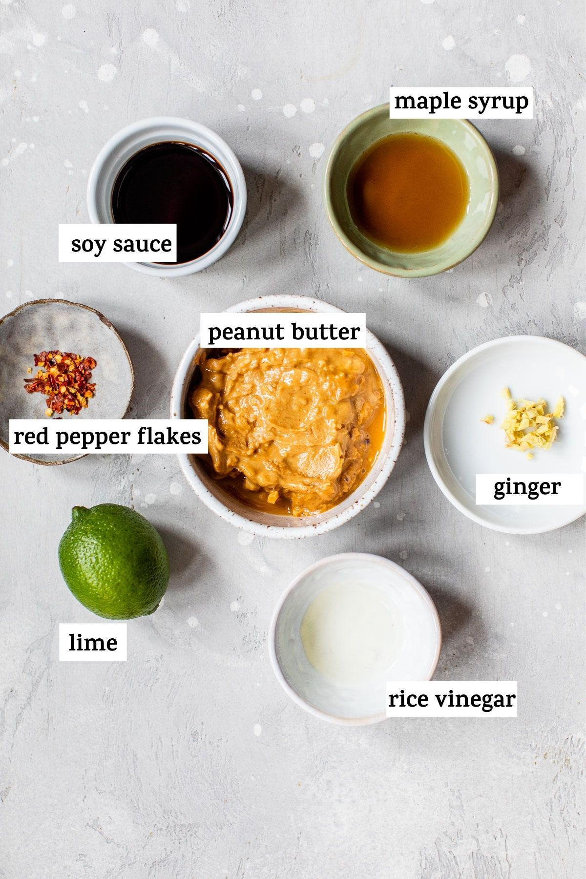 ingredients to make peanut sauce with text overlay