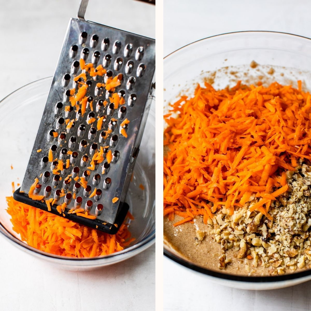 grated carrots in a bowl with cake batter and walnuts