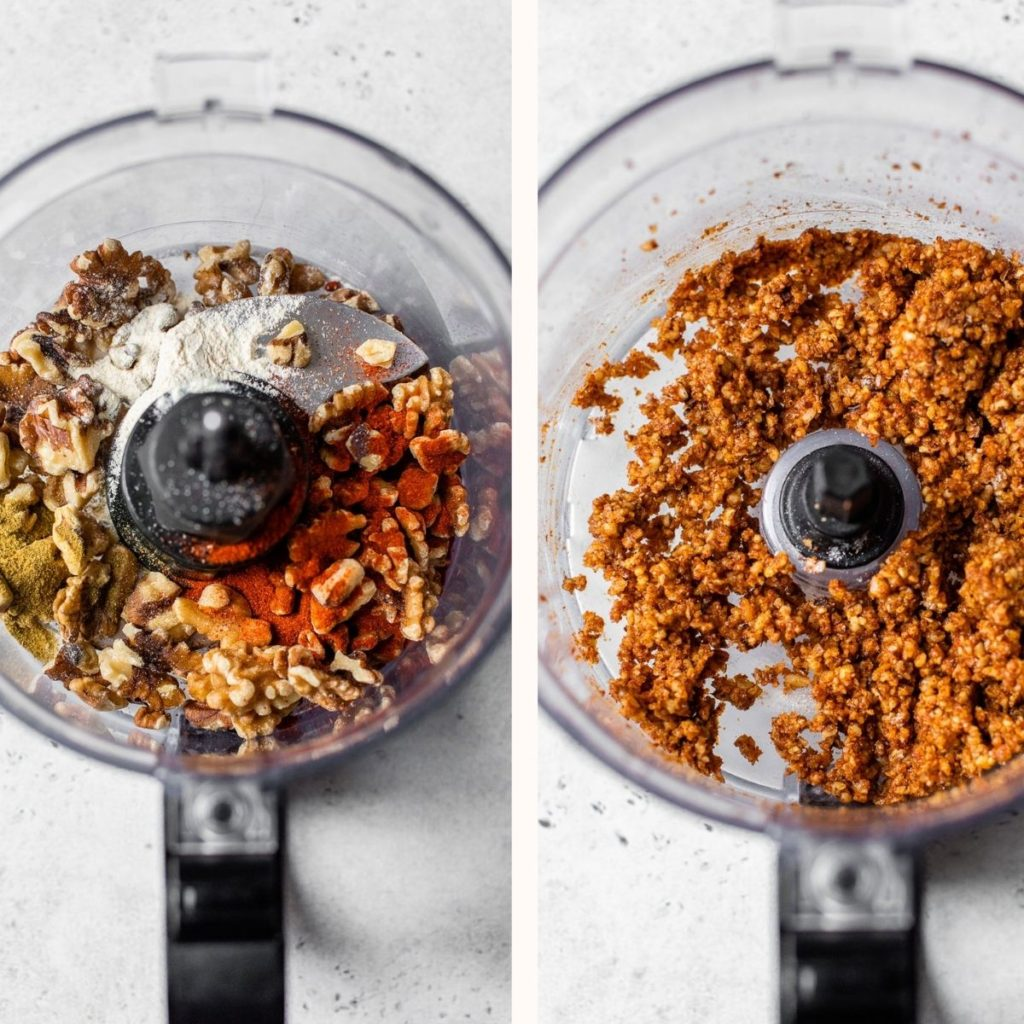blended walnuts in a food processor