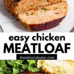 meatloaf on parchment and on a plate with text overlay
