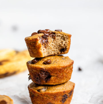 a stack of muffins filled with chocolate chips