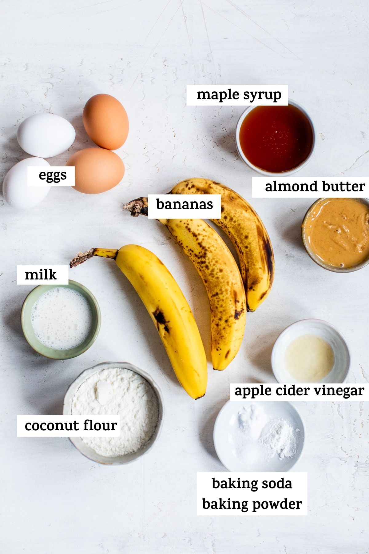ripe bananas and other ingredients on a table with text overlay