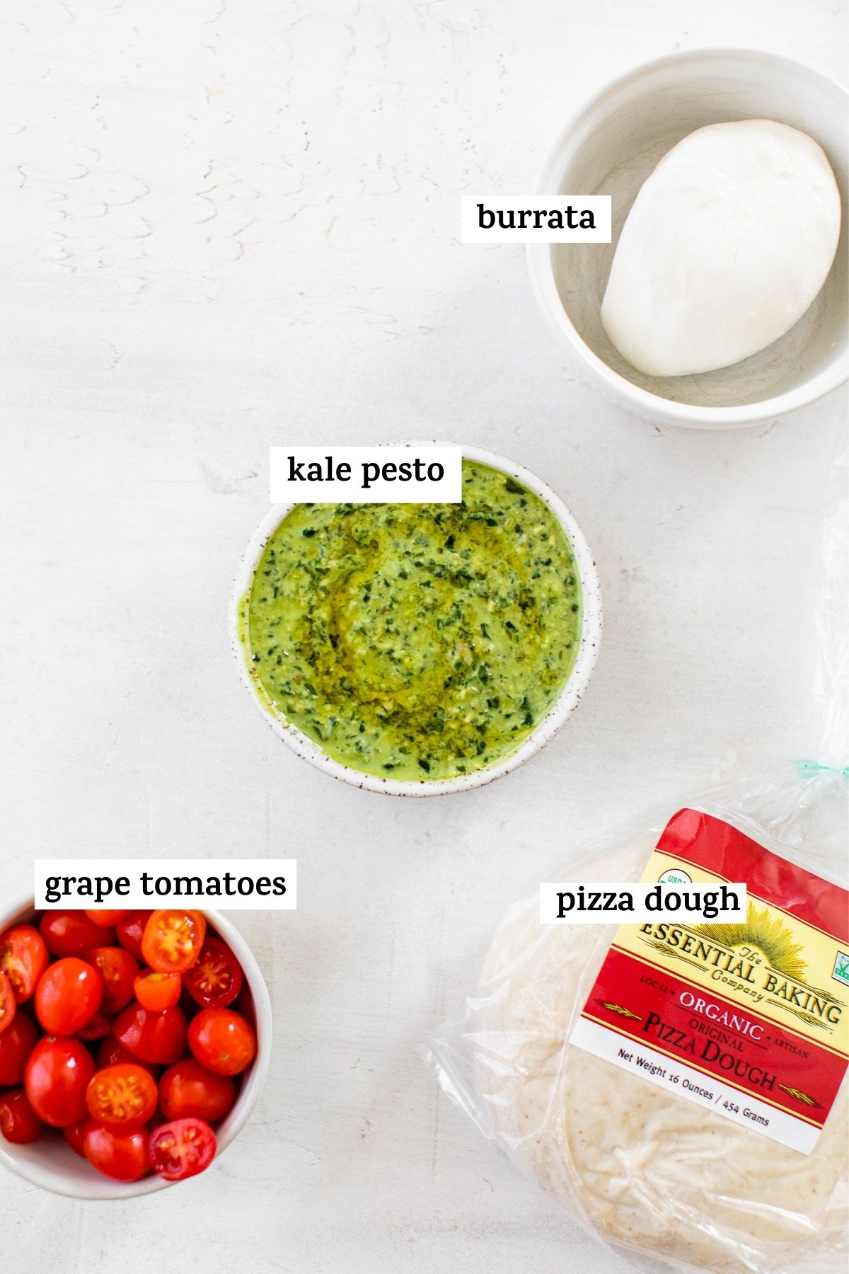 pizza ingredients with text overlay
