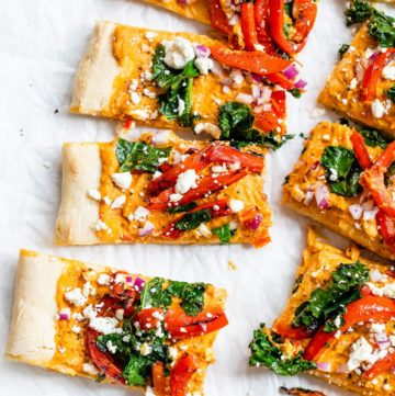 sliced flatbread on parchment paper