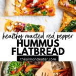flatbread topped with hummus and vegetables