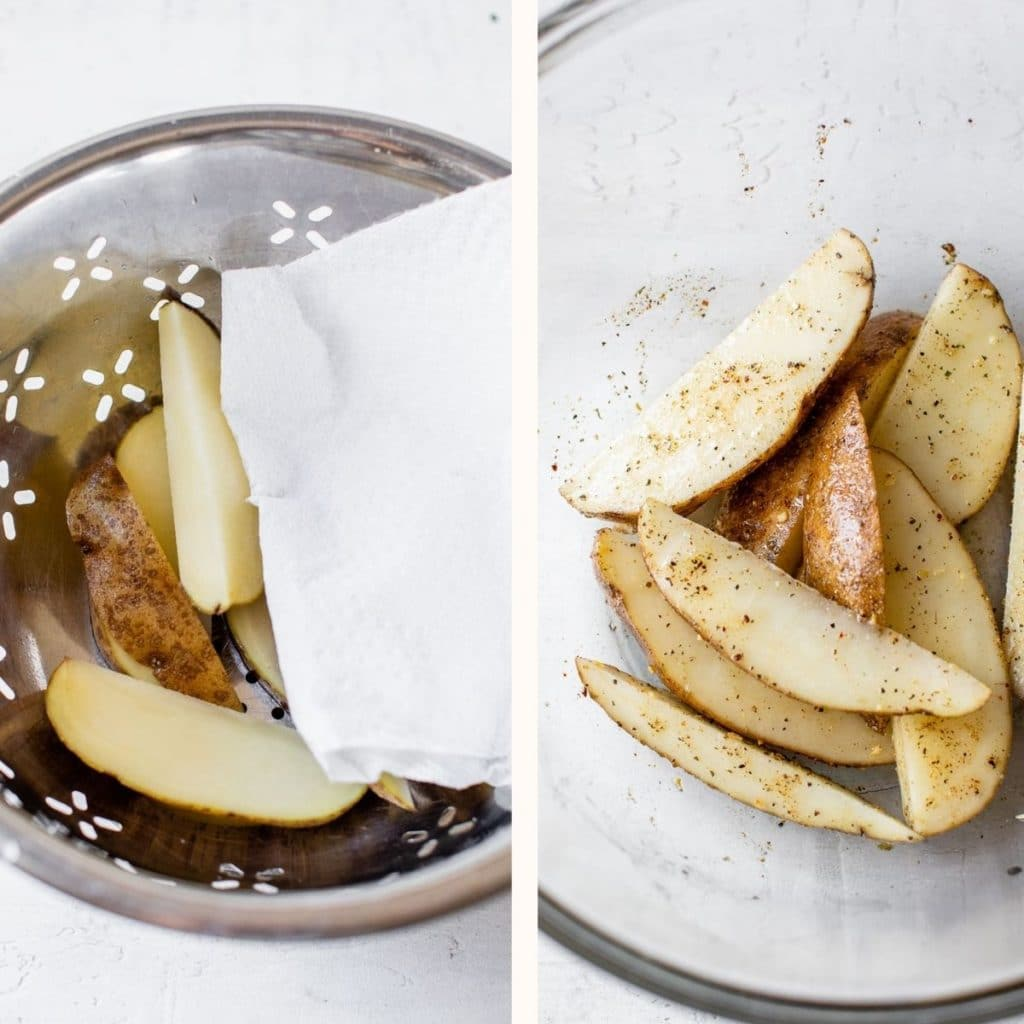 sliced russet potato in a large glass bowl