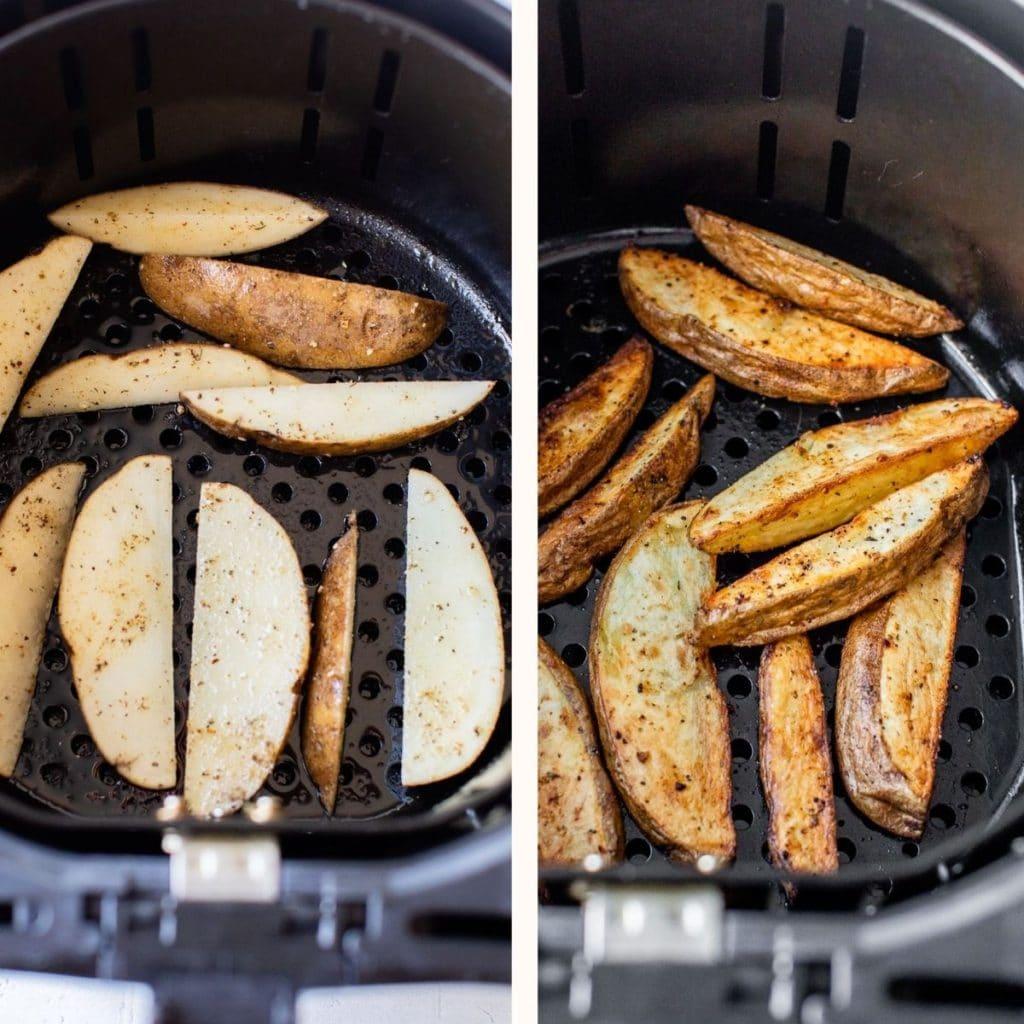 potato wedges in an air fryer