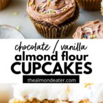 chocolate and vanilla cupcakes topped with sprinkles
