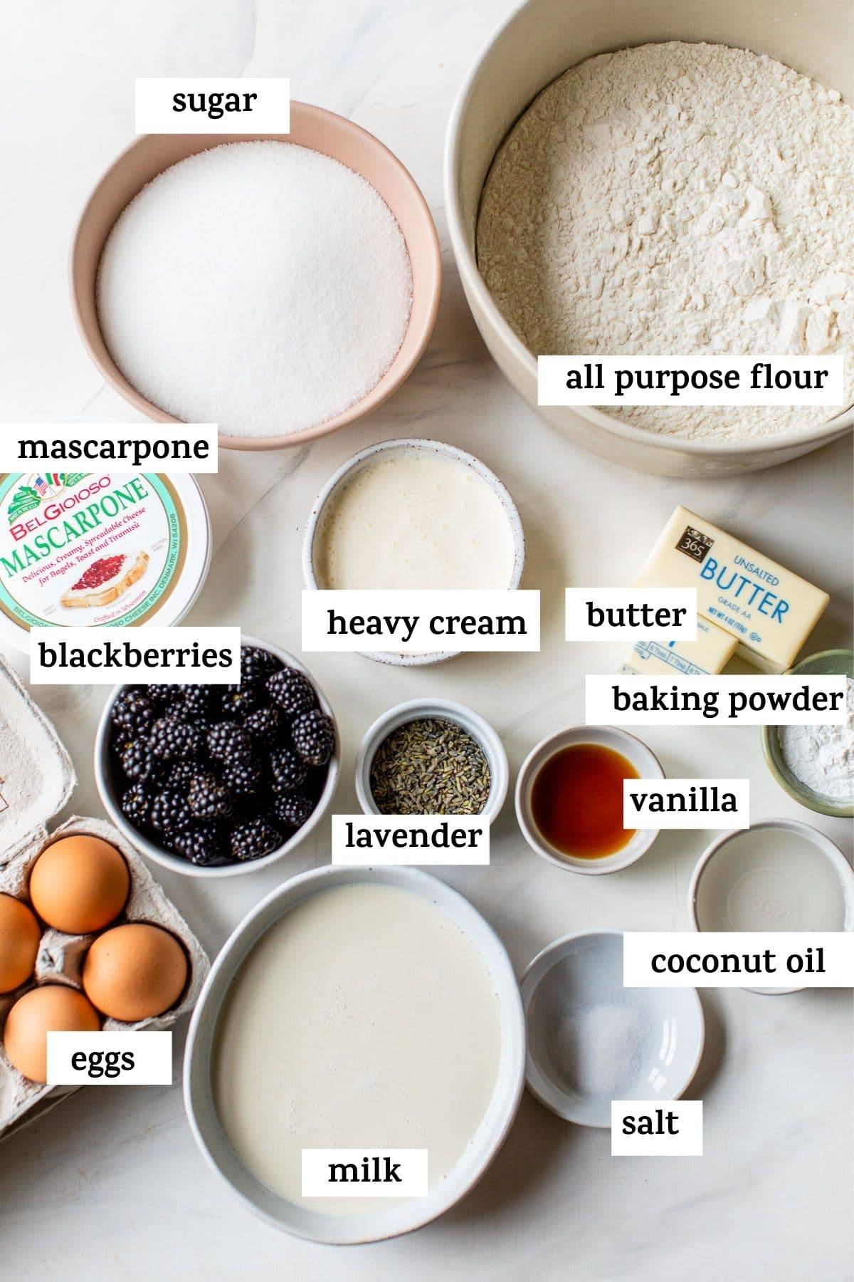 ingredients to make a cake with text overlay