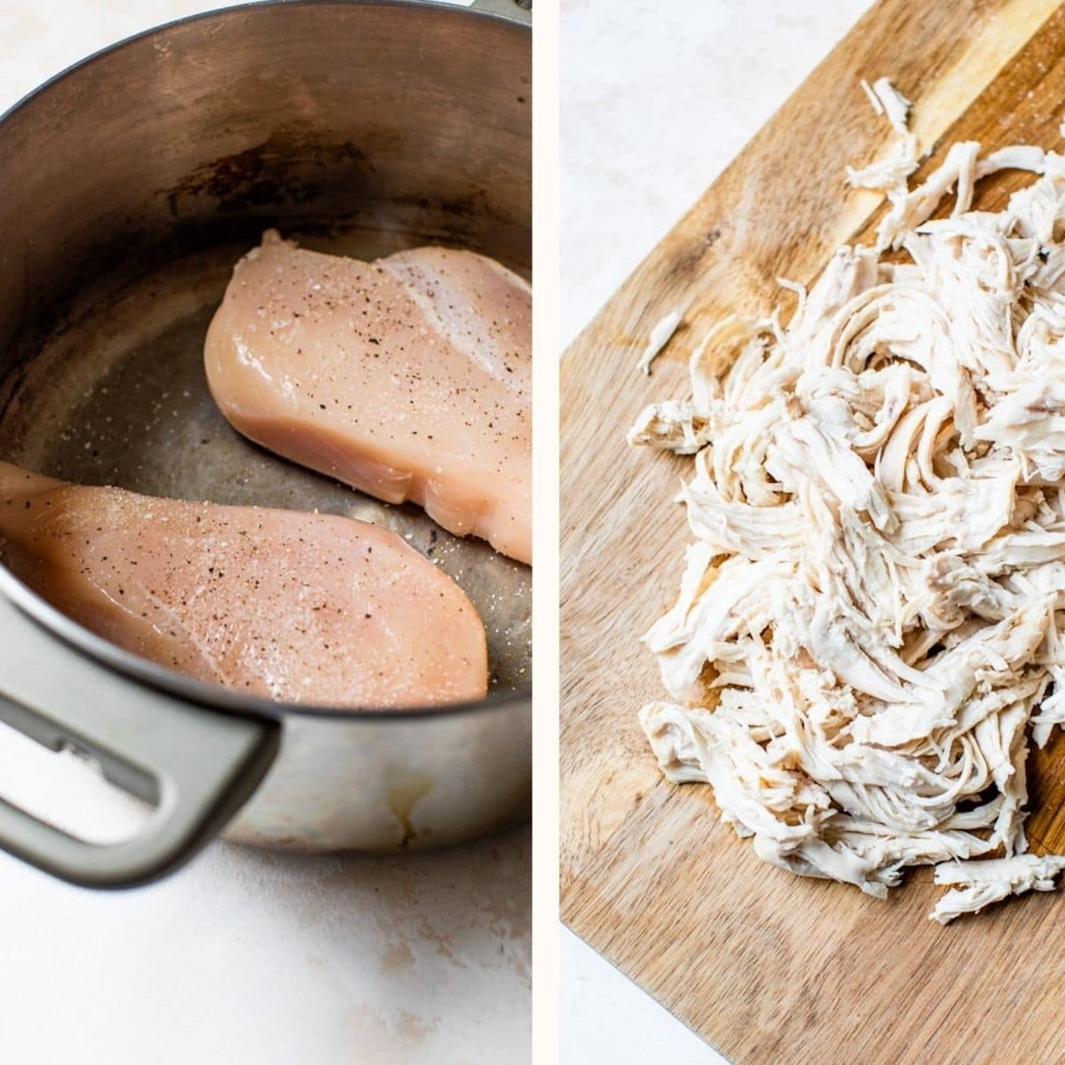 raw chicken breasts in a saucepan and shredded cooked chicken on a cutting board