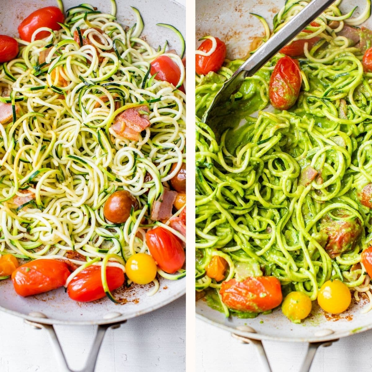 zucchini noodles in a skillet with tomatoes and bacon