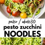 pesto zucchini noodles in a bowl with text overlay