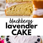 lavender cake on a plate with text overlay