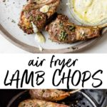 seasoned lamb chops on a plate and in an air fryer