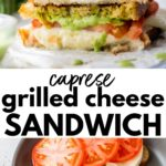 sandwich on parchment paper and in a skillet with text overlay