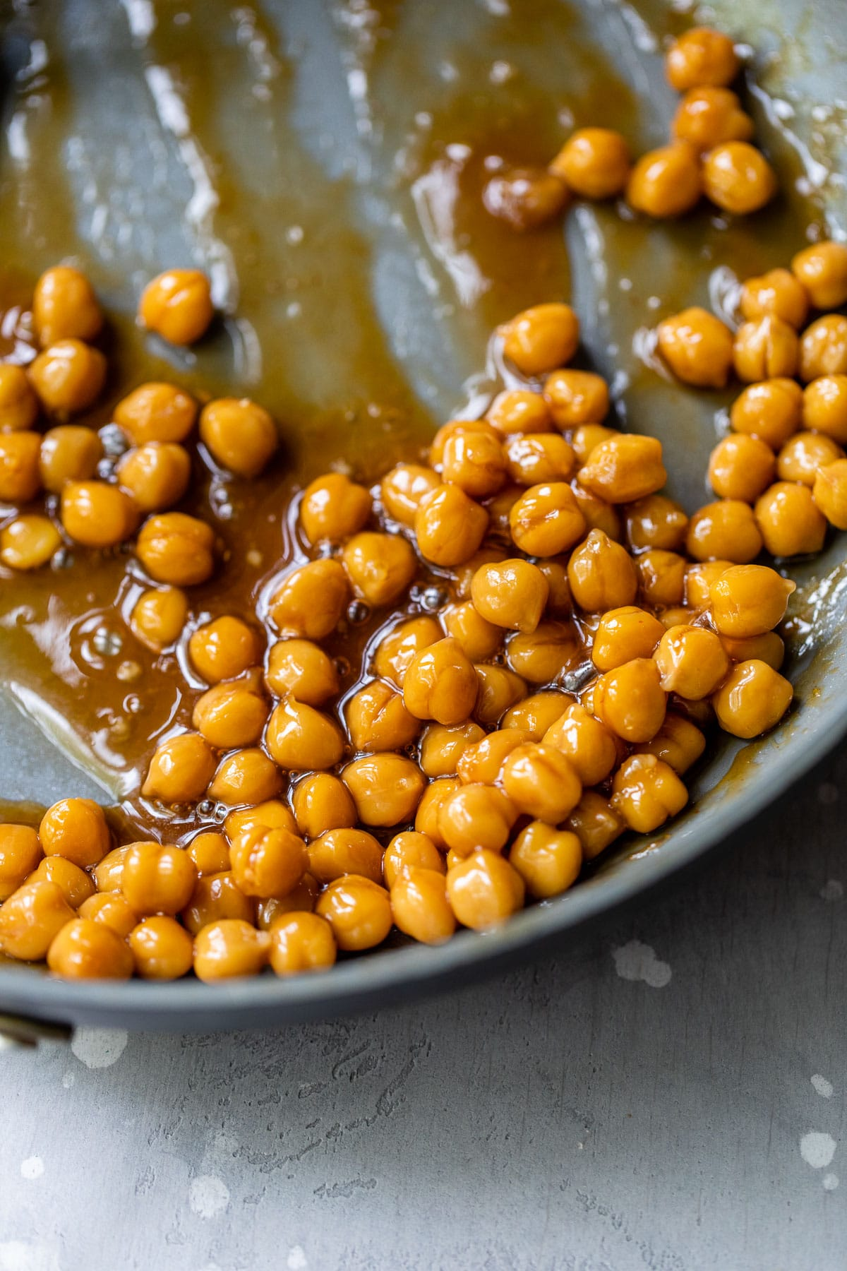 marinated chickpeas in a skillet