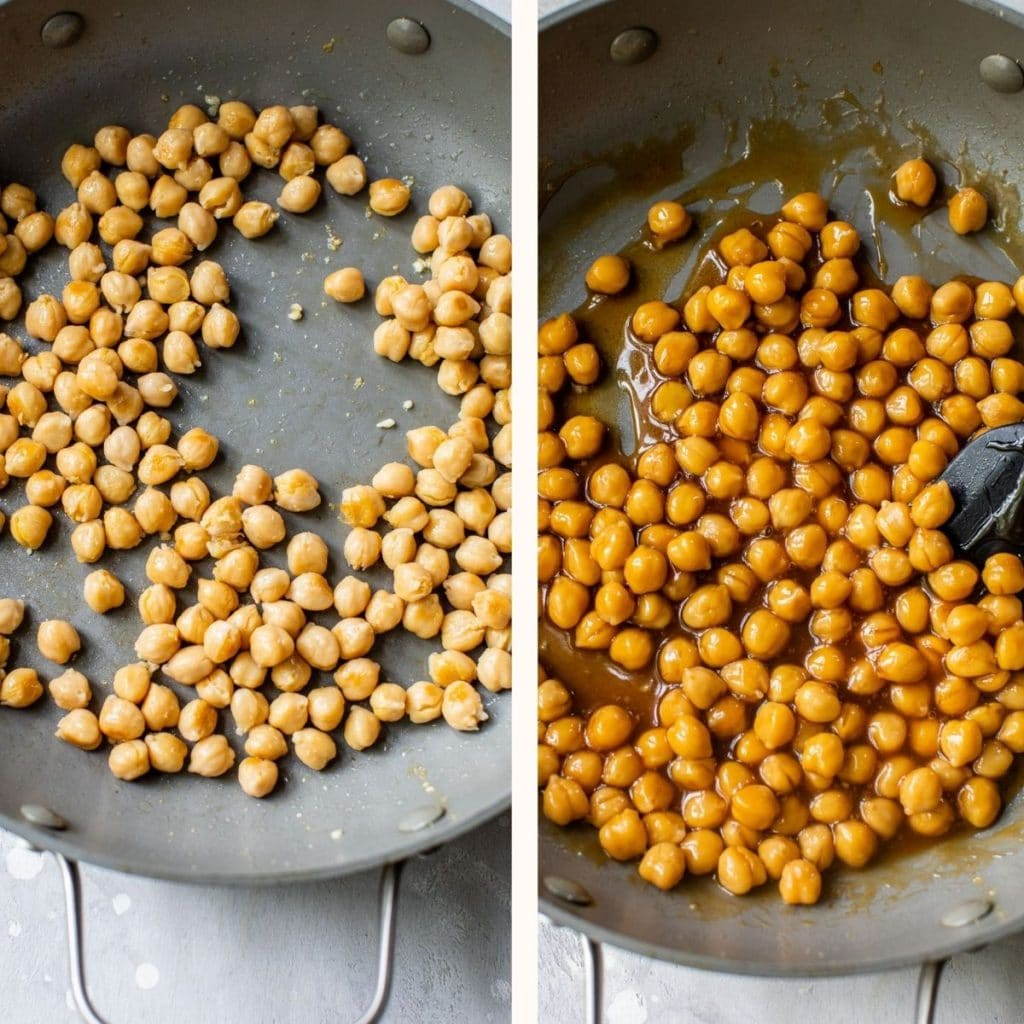 chickpeas in a skillet with sauce
