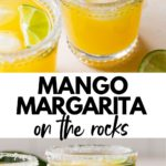 mango margarita in a glass with text overlay
